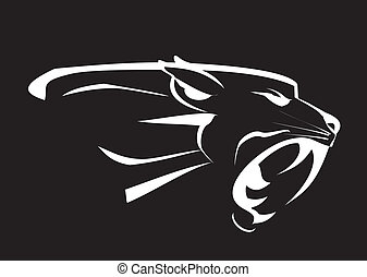svart panter, huvud, rytande