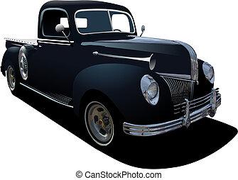 svart, pickupen, avlägsen, lastbil, märken