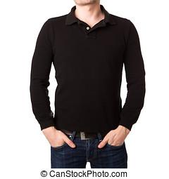 svart, poloshirt, med, a, lång skivfodral, på, a, ung man