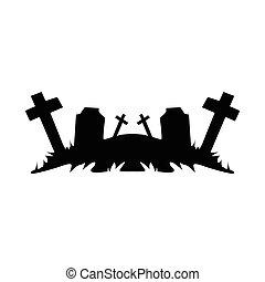 svart, ruins., kyrkogård, objekt