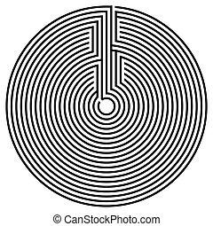 svart, runda, labyrint