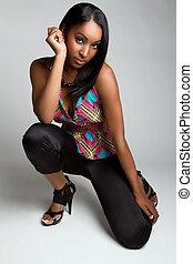 svart, sätt modellera, kvinna