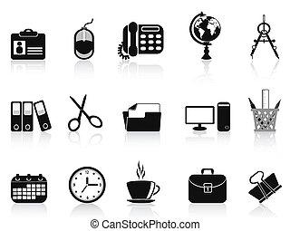 svart, sätta, redskapen, kontor, ikon