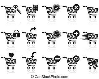 svart, shoppa vagnen, ikon, sätta