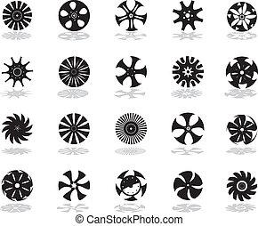 svart, silhouettes, av, disk-shaped, ic