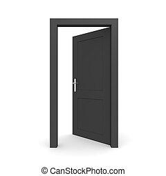 svart, singel, dörr öppna