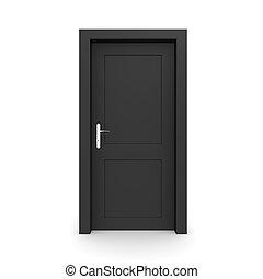 svart, singel, dörr, stängd