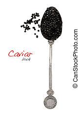 svart, sked, kaviar