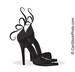 svart, skor