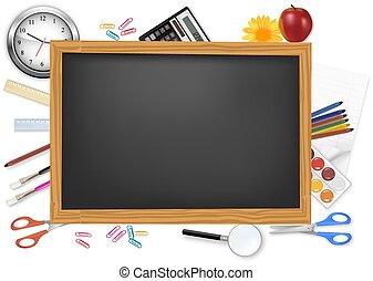svart skrivbord, med, skola, supplies.