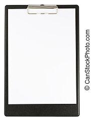 svart, skrivplatta, isolerat, vit