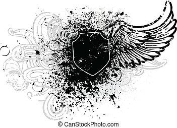 svart, skydda, vinge