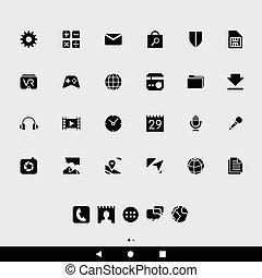 svart, smartphone, apps, ikonen