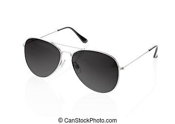 svart, solglasögon, isolerat, vita