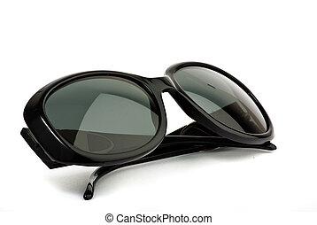 svart, solglasögon, vita, bakgrund