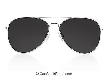 svart, solglasögon, vita