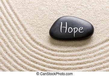 svart, sten, med, den, inskrift, hopp