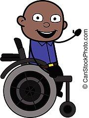 svart, stol, skallig, hjul, man, tecknad film