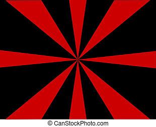 svart, sunburst, röd fond