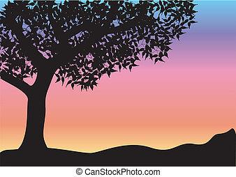 svart, träd