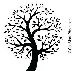 svart, träd, ikon