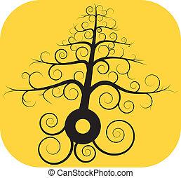 svart, träd, spiral