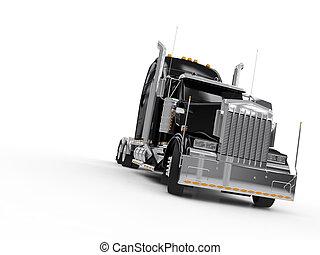 svart, tung, lastbil
