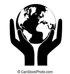 svart, värld, natur, conservancy, ikon