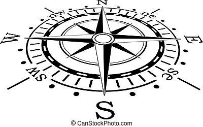 svart, vektor, kompass