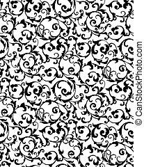 svart, vektor, silhuett, seamless, mönster