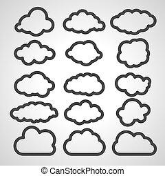 svart, vektor, skyn, illustration, kollektion