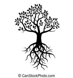 svart, vektor, träd, rötter