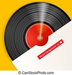 svart, vinyl skiva, med, täcka