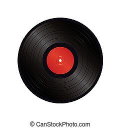 svart, vinyl, vektor