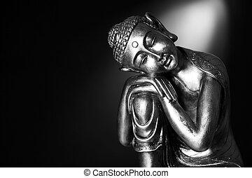 svart, vit, buddha, staty