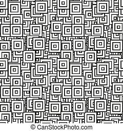 svart, vit, fyrkant, klapp, seamless