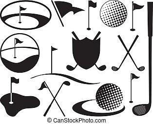svart, vit, golf, ikonen