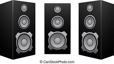 svart, vit, högtalare, bakgrund