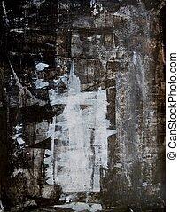 svart, vit, konst, abstrakt
