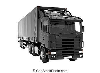 svart, vit, lastbil, isolerat, bakgrund