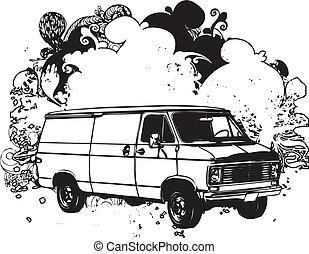 svart, vit, skåpbil, illustration