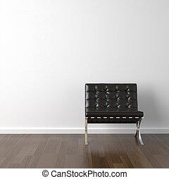 svarta nappa, stol, vita, vägg