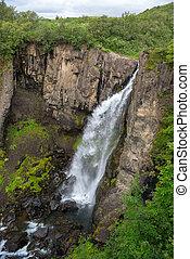 Svartifoss Waterfalls or Balck Waterfall, Vatnajokull...