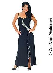 svarting klä, modell, längd, kvinna, fyllda