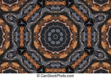 svarting och, brun, mandala, bakgrund