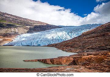 Svartisen glacier, Norway, Europe. Svartisen glacier is second biggest glacier in Norway