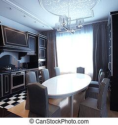 svartvitt, kök, inre