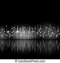 svartvitt, musik, utjämnare