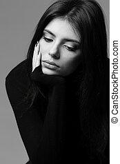 svartvitt, närbild, stående, av, a, nervös, kvinna
