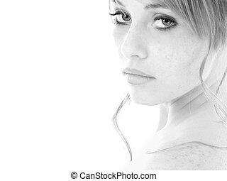 svartvitt, stående, tonåring flicka
